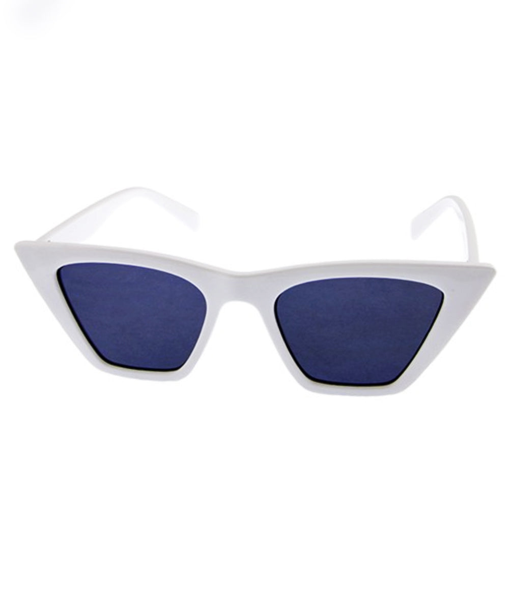 White Vixen Squared Retro Sunglasses