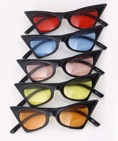 Retro Pointed Black Cat Eye Sunglasses With Colored Lenses