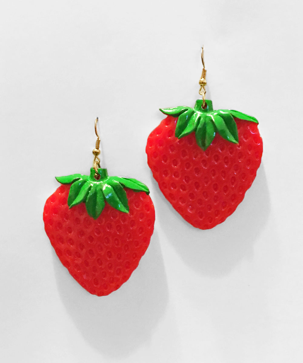 Large Handmade Strawberry Resin Dangle Earrings