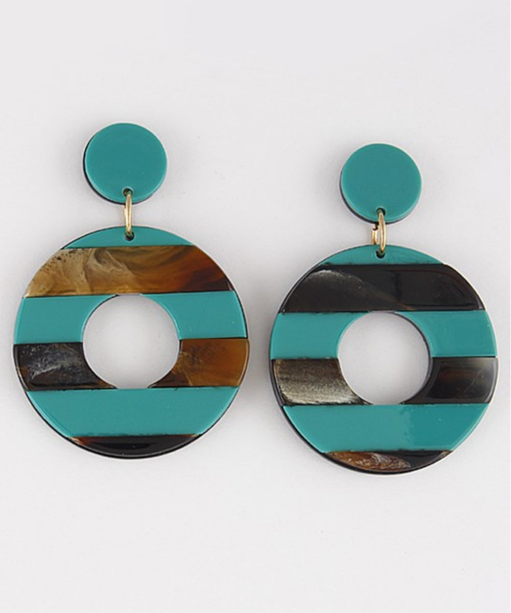 Teal & Brown Marbled Striped Resin Retro Hoop Earrings