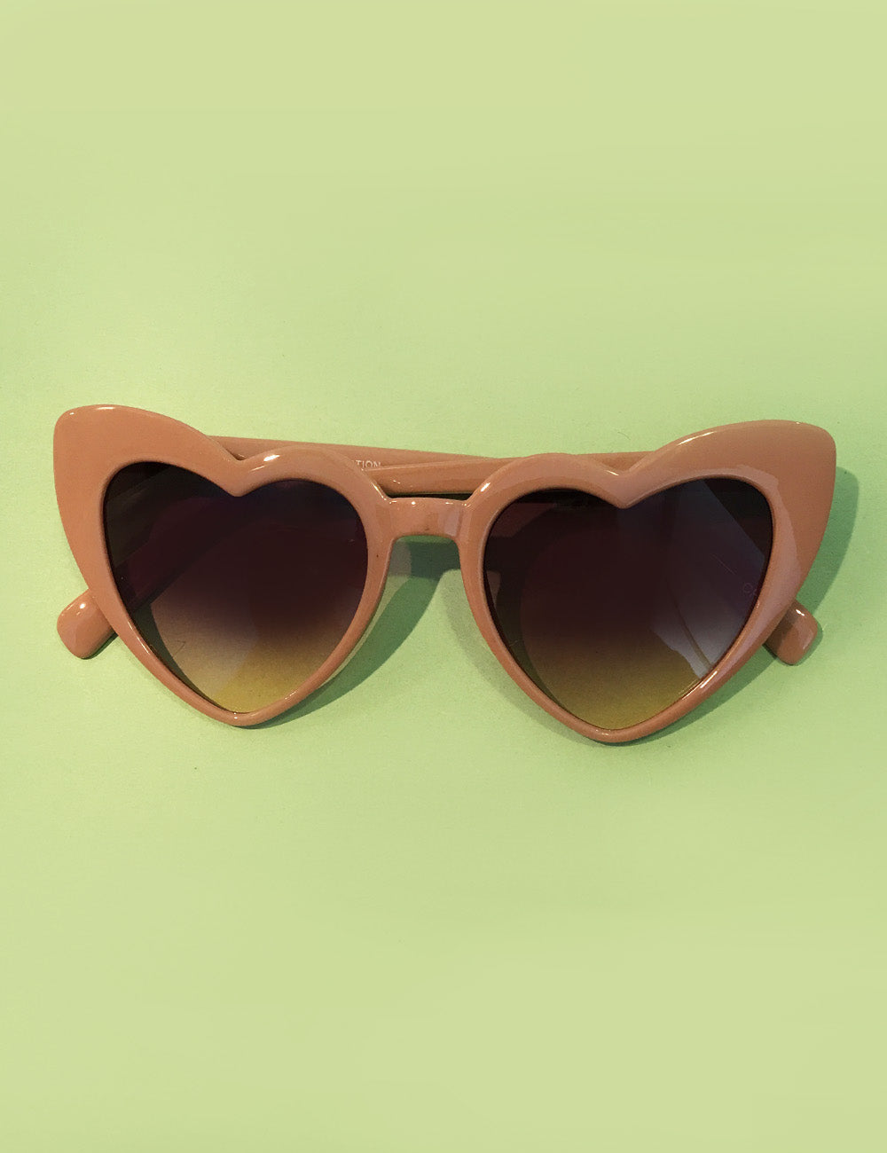 Neutral Tan Heart Shaped Retro Sunglasses