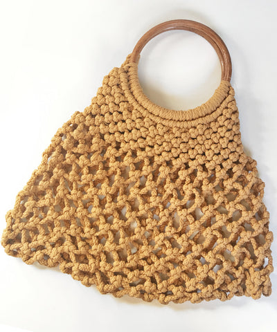 Tan Crocheted Wooden Handle Vintage Inspired Purse