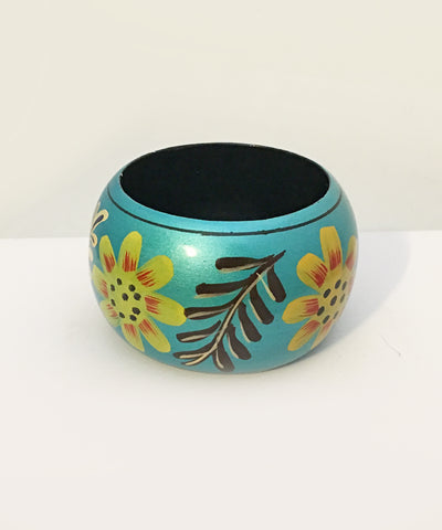 Teal & Colorful Shimmering Hand Painted Floral Tiki Wooden Bangle