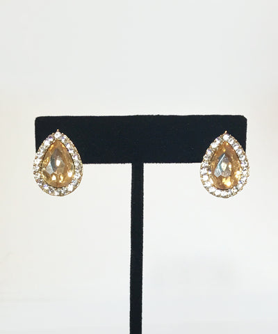 Topaz & Clear Rhinestone Teardrop Earrings