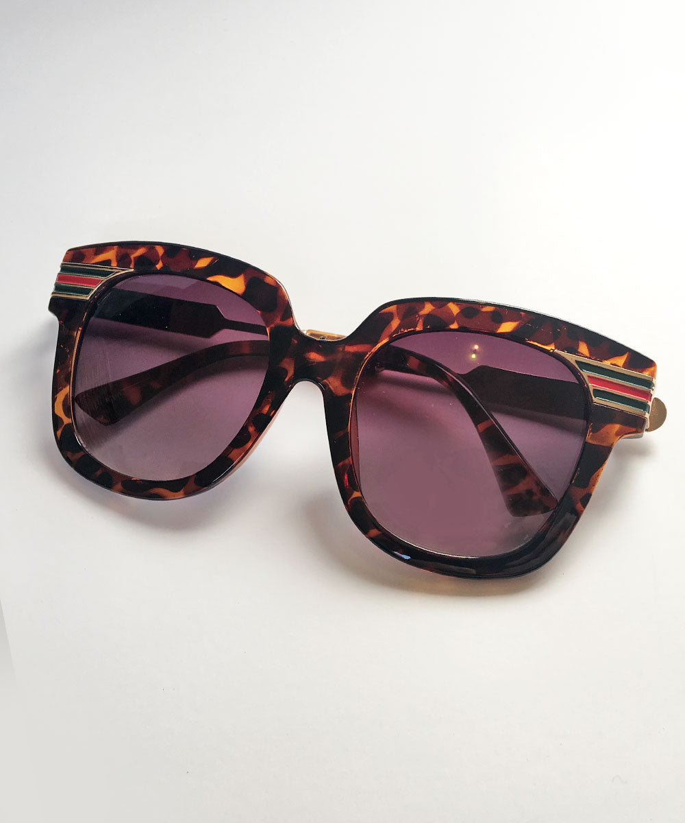 1960s Inspired Oversized Tortoise Brown & Gold Striped Sunglasses