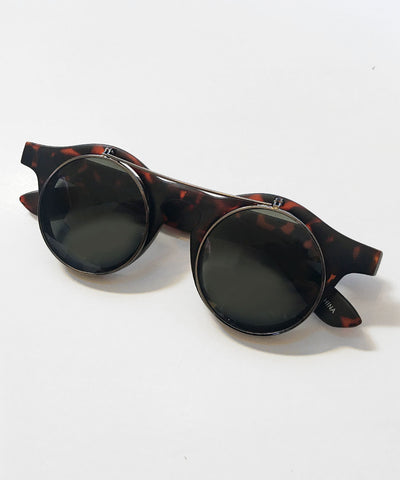 1940's Tortoise Brown Matte Round Spectacles With Flip Up Sunglasses