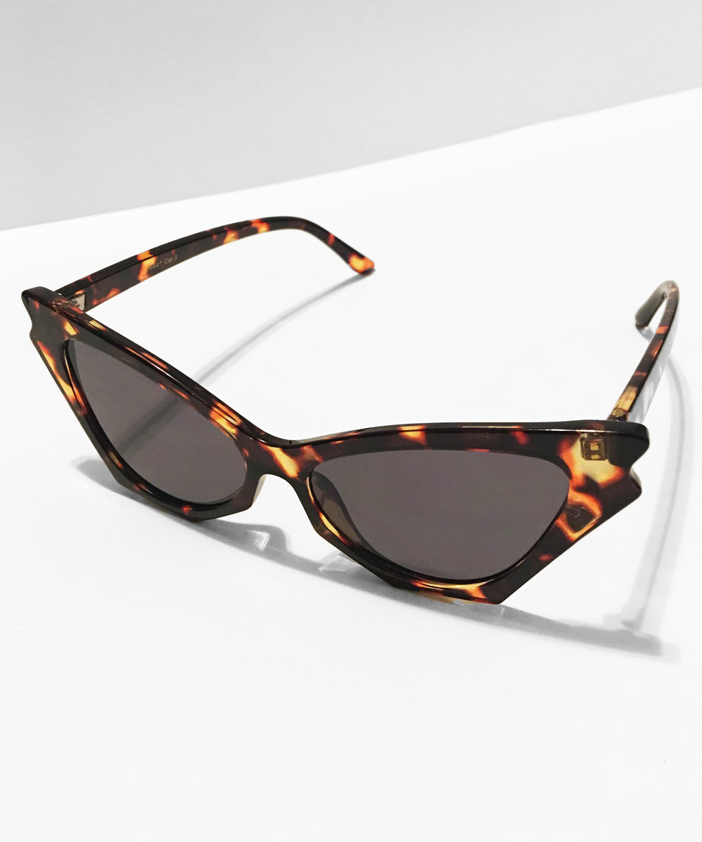 Tortoise Brown Batwing Retro Sunglasses