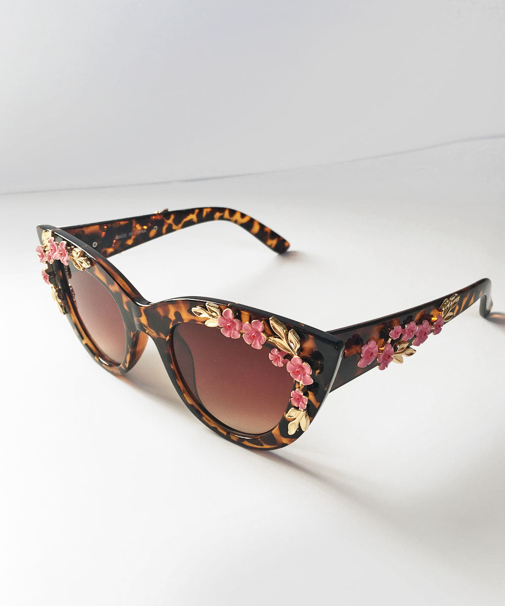 Tortoise Brown & Pink 3D Floral Retro Inspired Sunglasses