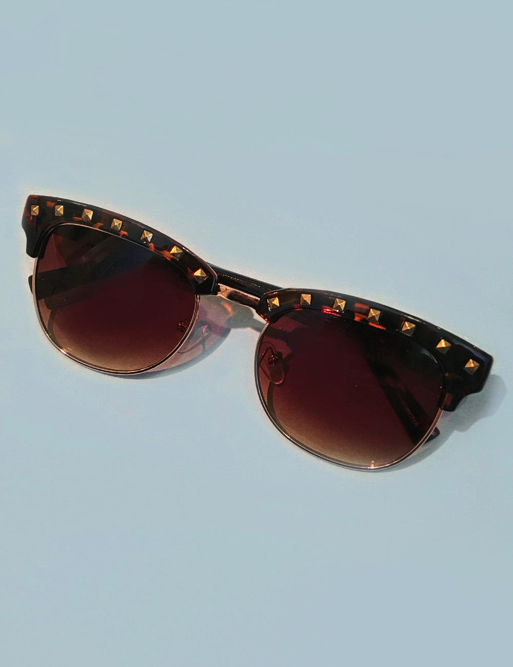 Tortoise Brown & Gold Studded Horn Rimmed Sunglasses