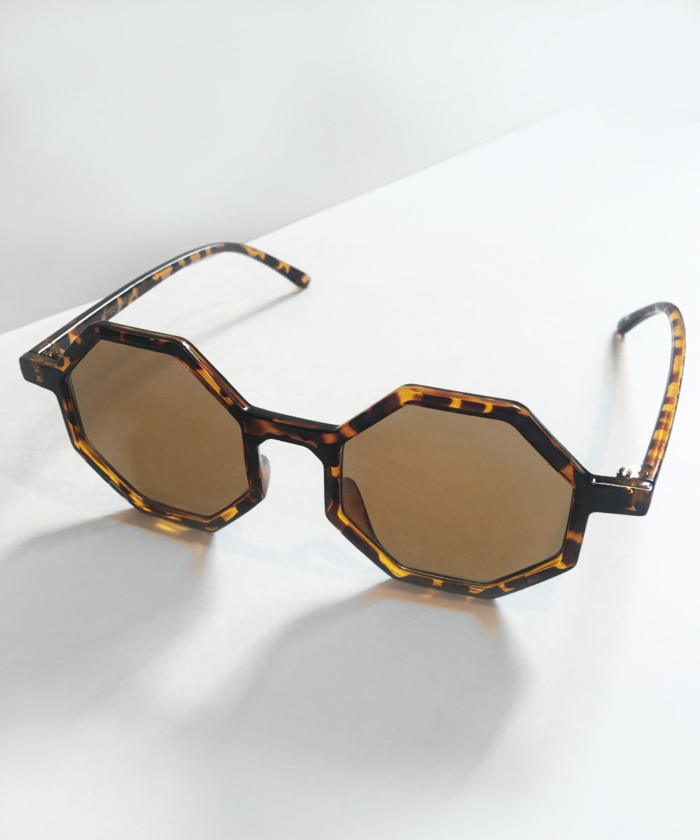Octavia Tortoise Brown Thin Geometric Retro 1960s Sunglasses