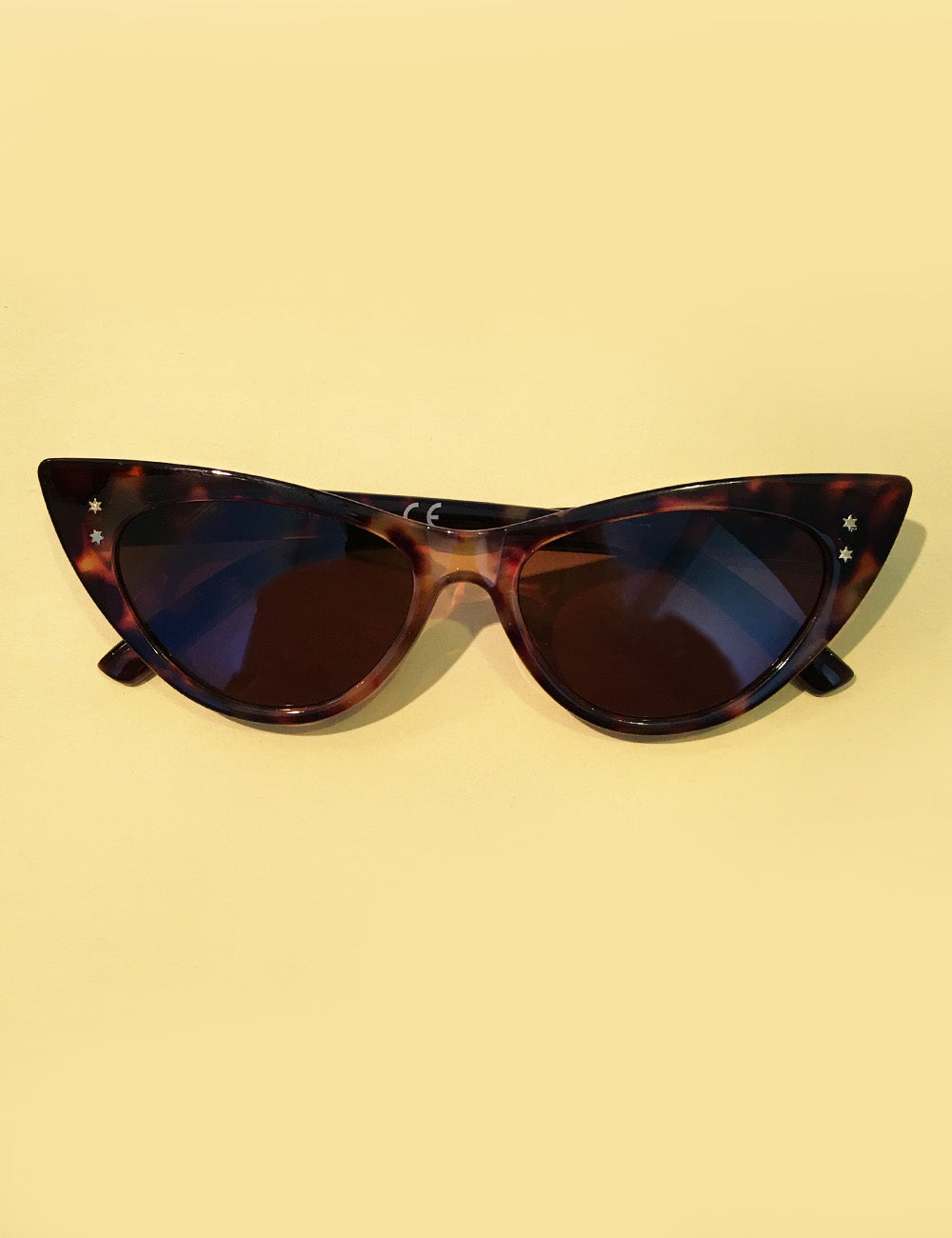 Tortoise Brown Retro Star Studded Cat Eye Sunglasses