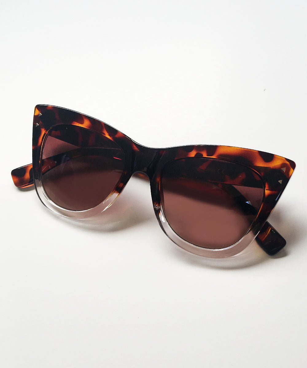 Tortoise Brown & Clear Two Toned 1950s Inspired Sunglasses