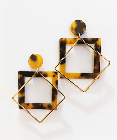 Gold & Resin Diamond Drop Tortoise Brown Earrings