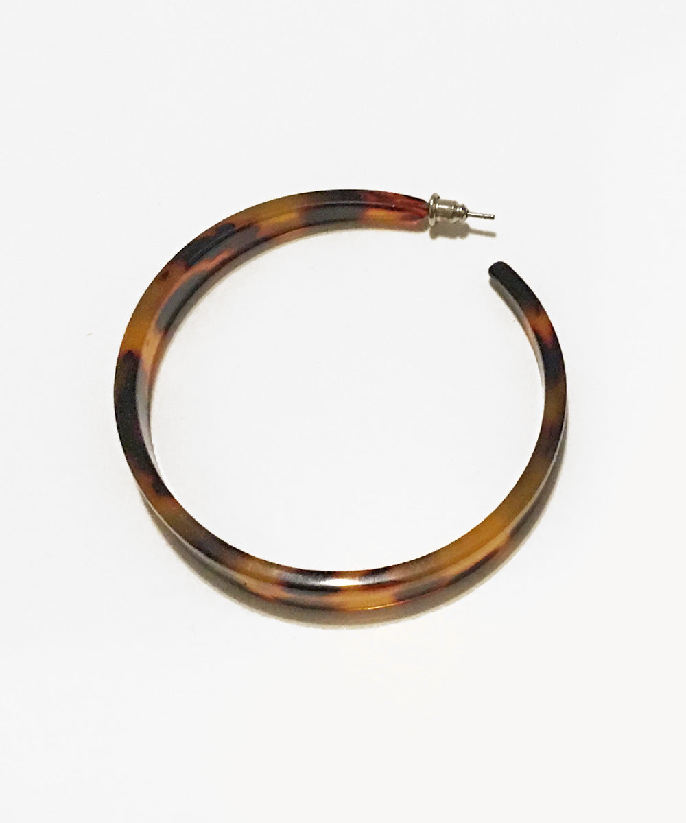 Oversized Tortoise Brown Resin Hoop Earrings