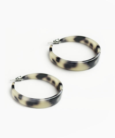Retro Ivory Tortoise Shell Hoop Earrings