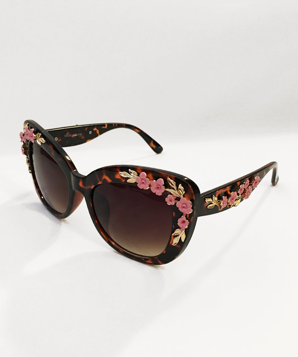 Tortoise Brown & Pink 3D Floral Retro Inspired Oversized Sunglasses