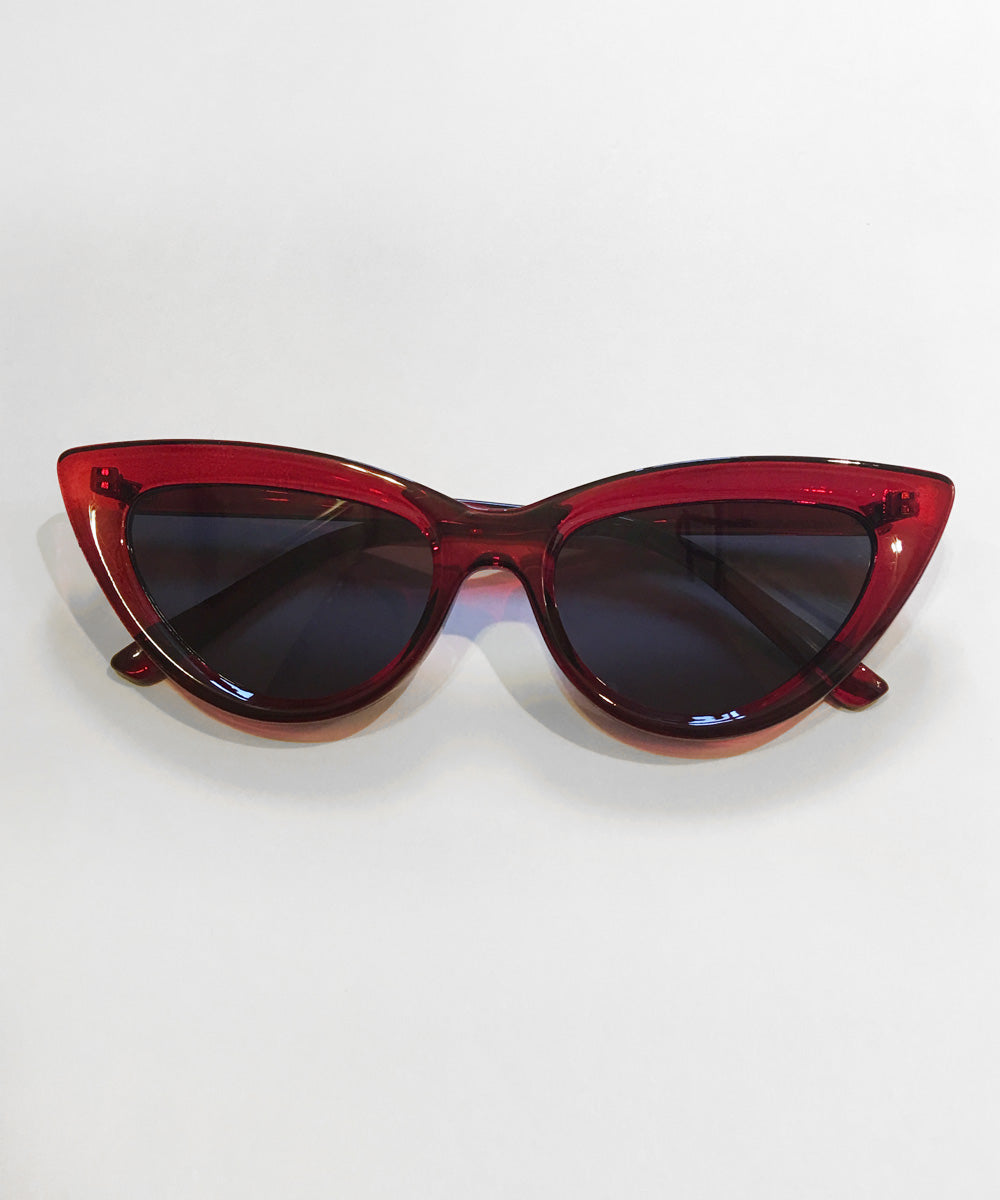 Cranberry Red Translucent Classic 1950s Cat Eye Inset Lens Sunglasses
