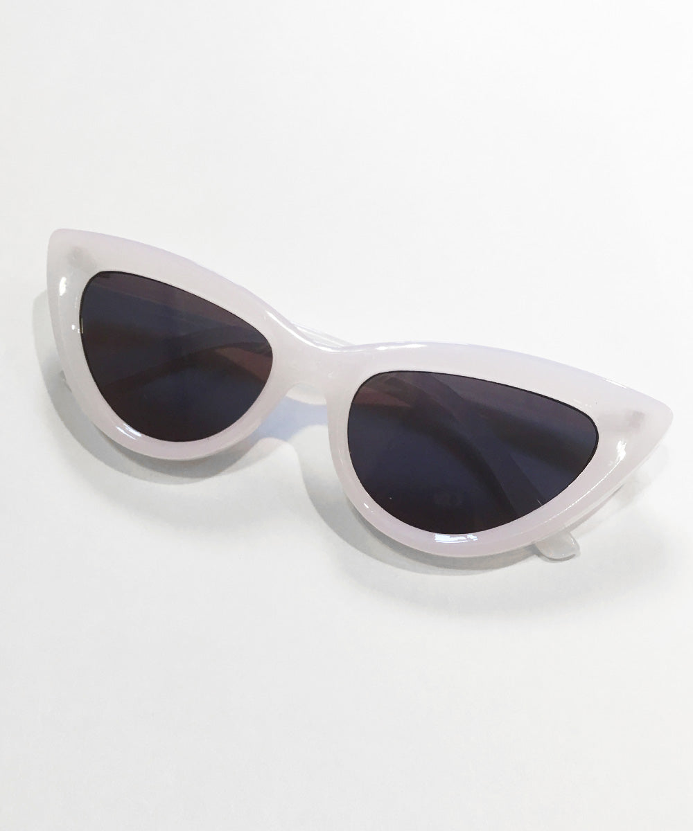 White Translucent Classic 1950s Cat Eye Inset Lens Sunglasses