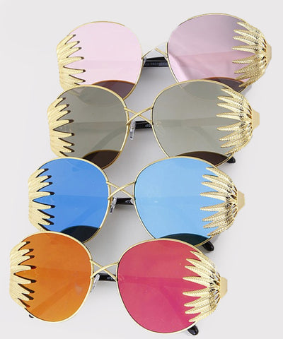 Colorful Tropical Gold Reflective Round Sunglasses