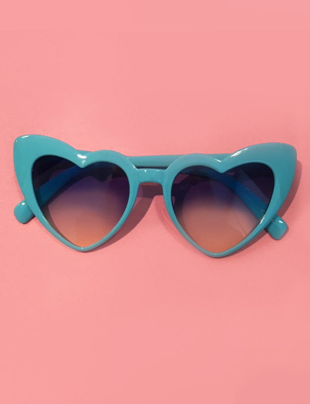 Turquoise Blue Heart Shaped Retro Sunglasses