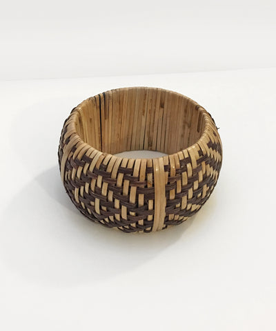 Ultra Thick Two Toned Geometric Woven Bangle
