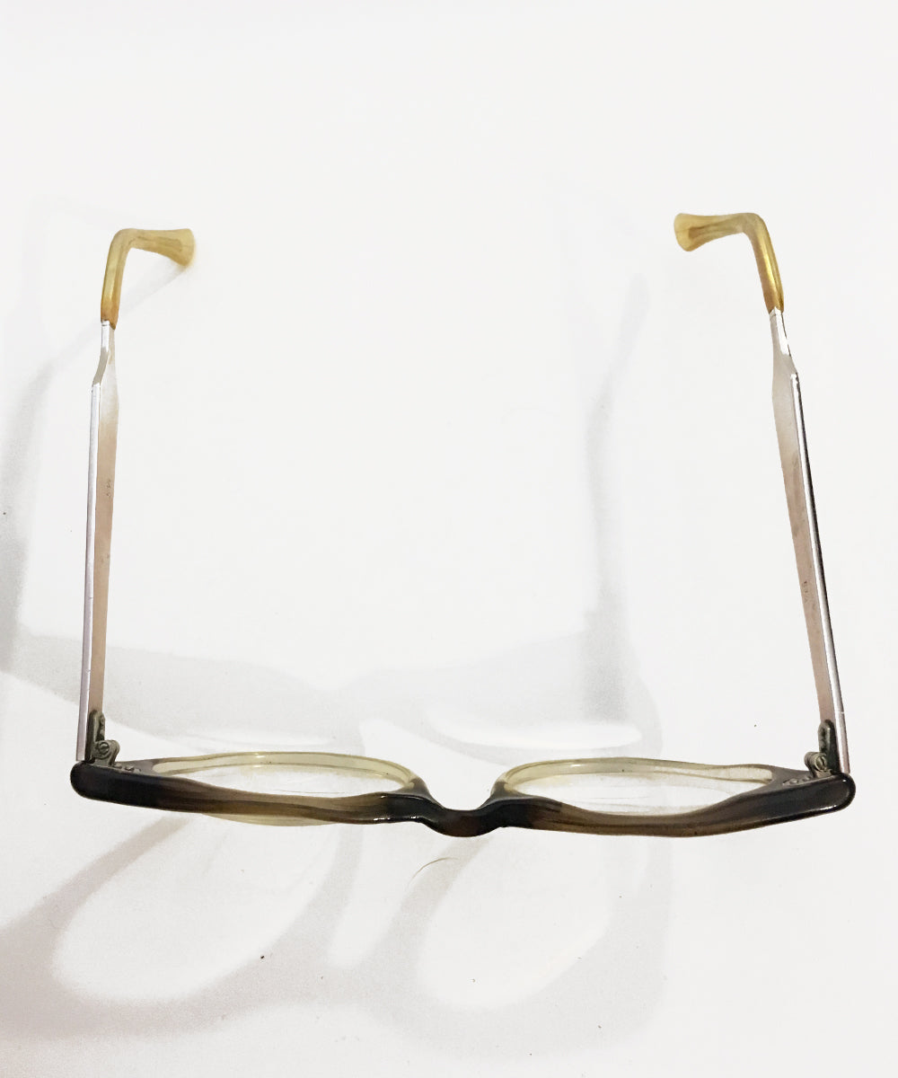 Two Tone 1960s Plastic & Aluminum Vintage Eye Glasses