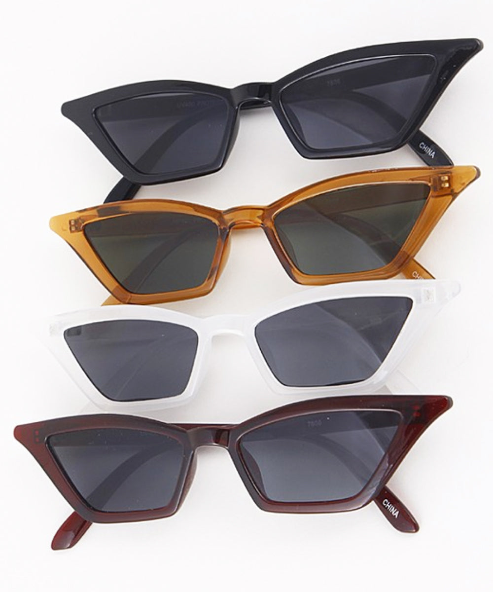 Retro Style Ultra Thin Framed Squared Cat Eye Sunglasses
