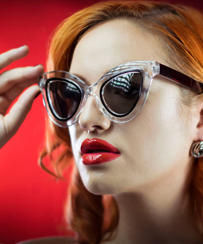 Unique Retro Black & Clear Drama Cat Eye Sunglasses
