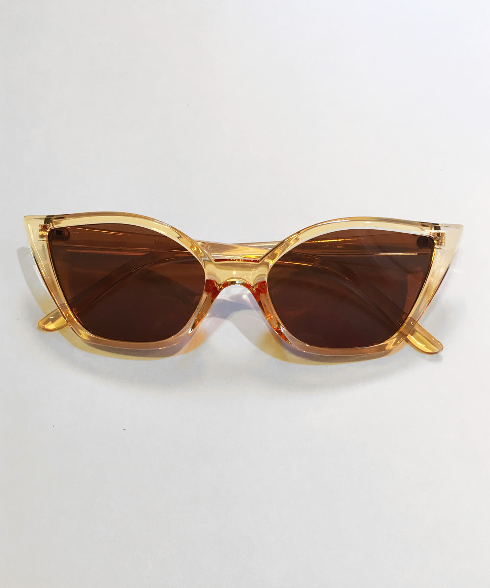 Unique Retro Cat Eye Translucent Beige Sunglasses