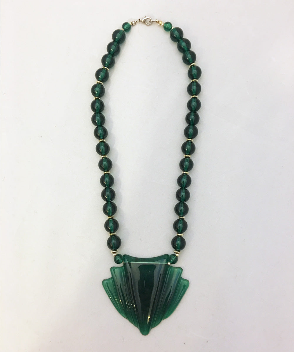 Vintage 1980s Green Resin & Silver Beaded Statement Necklace