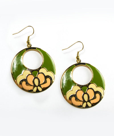 Pink & Green Art Nouveau Floral Dangle Earrings