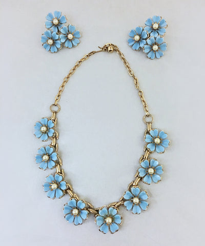 1950s Vintage Light Blue Plastic Flower & Pearl Earring & Necklace Set