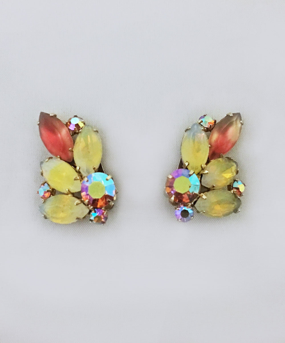 Vintage Coro Yellow & Peach Crystal Clip On Earrings