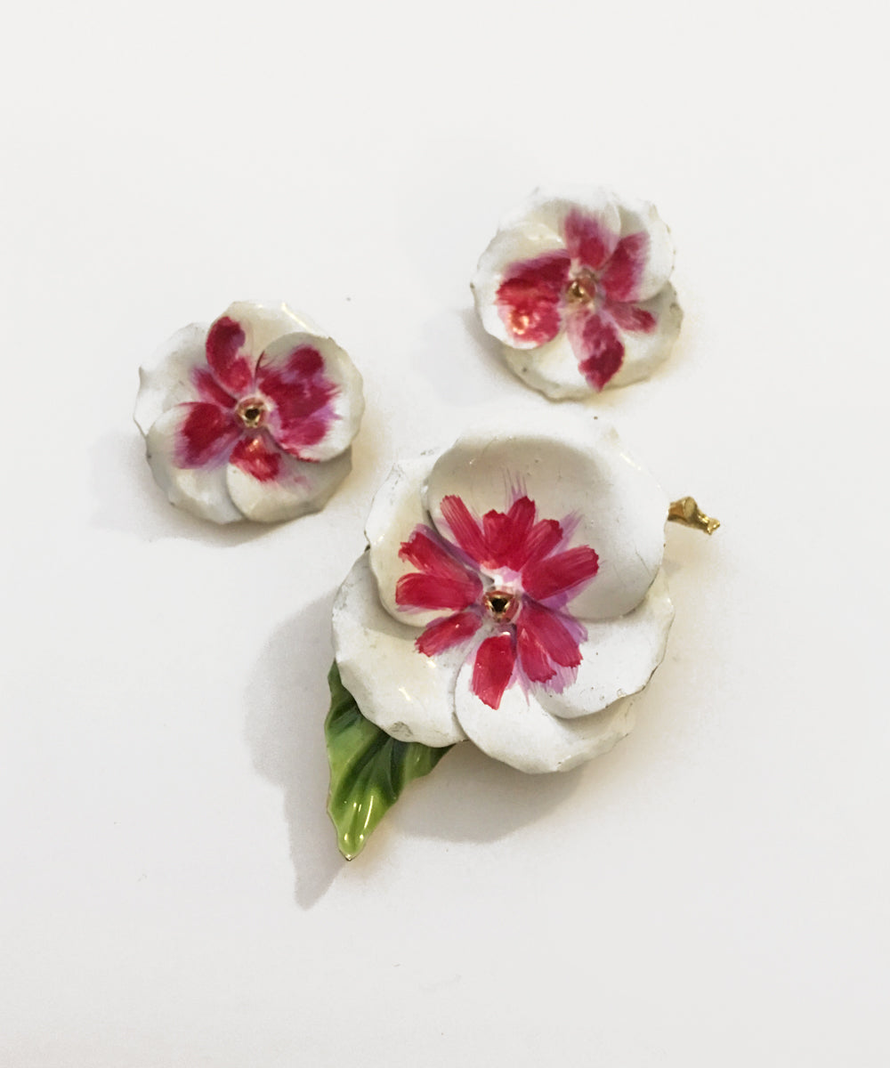 Vintage White & Pink Painted Flower Brooch & Earring Set
