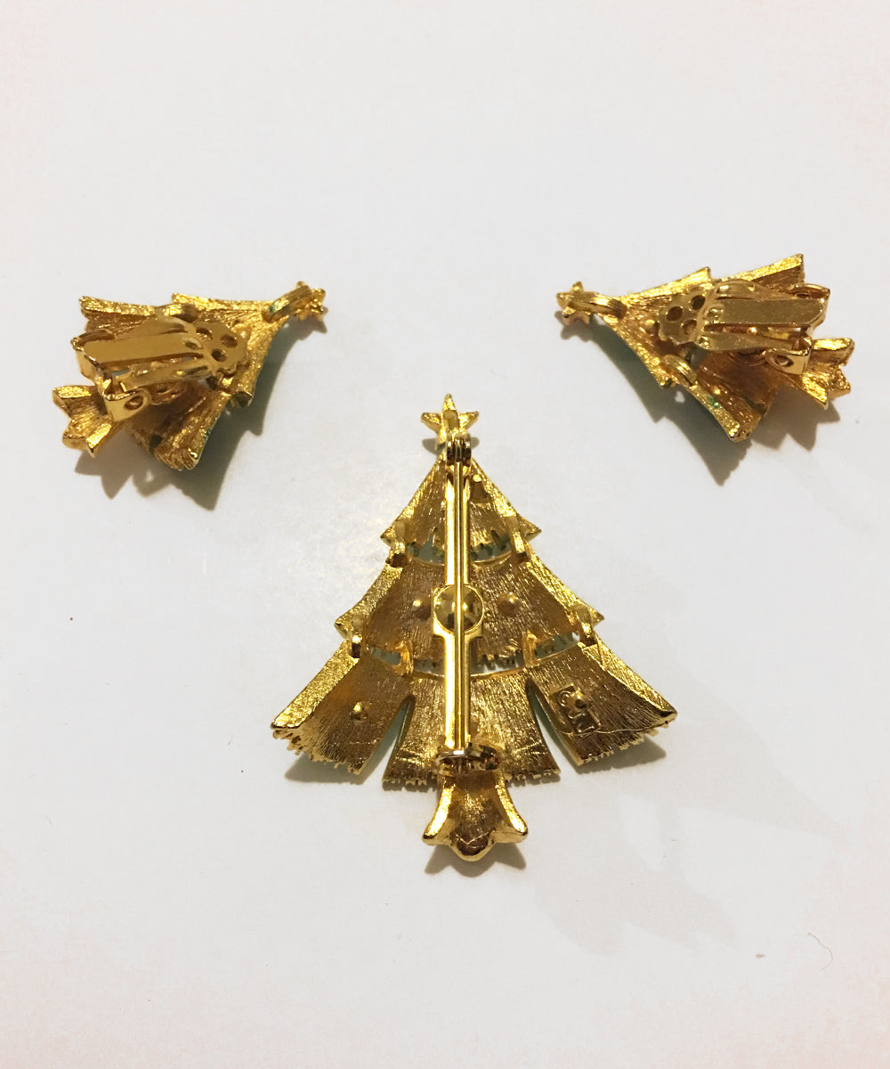 Vintage 1960s JJ Jonette Christmas Tree Brooch & Earring Set