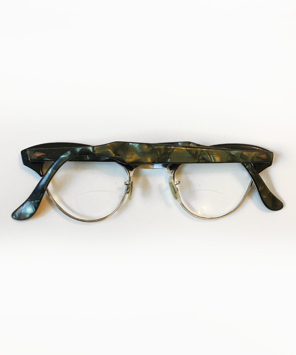 Vintage Green Marbled American Optical 1950s Cat Eye Horn Rimmed Glasses