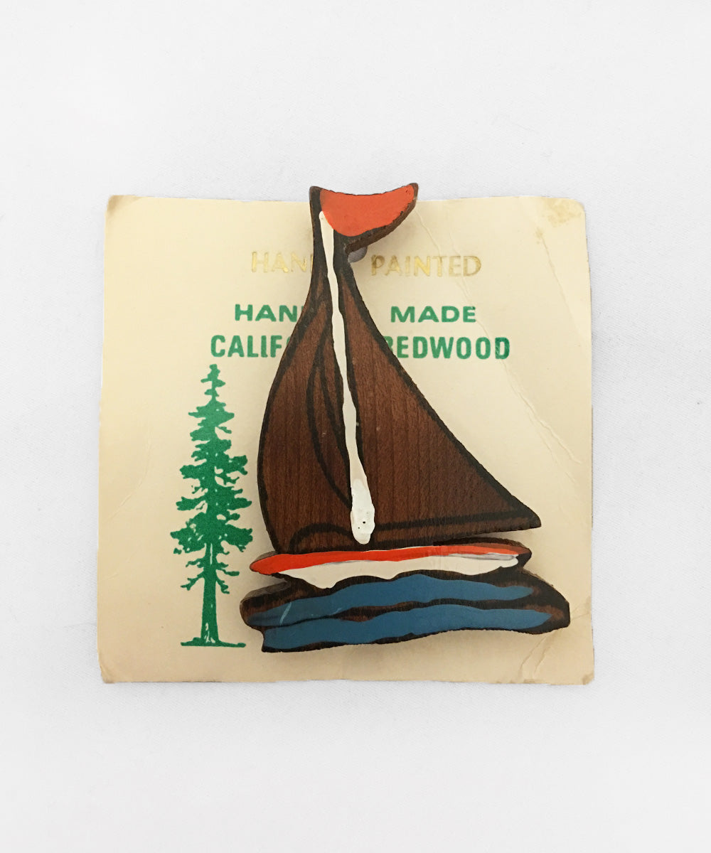 1940s Vintage Hand Made Souvenir Wooden Painted Sailboat Brooch