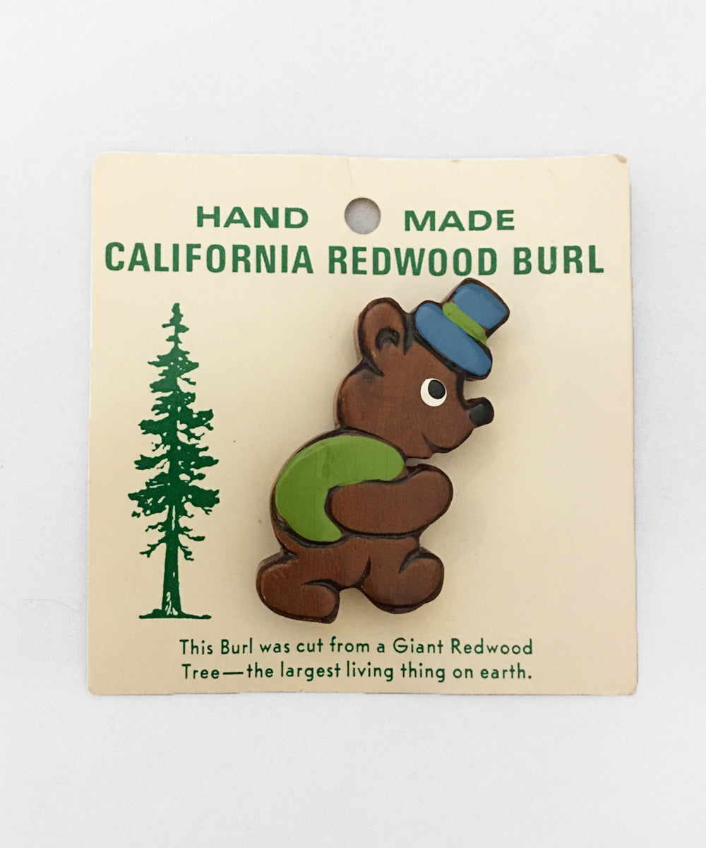 1940s Vintage Hand Made Souvenir Wooden Painted Bear Brooch