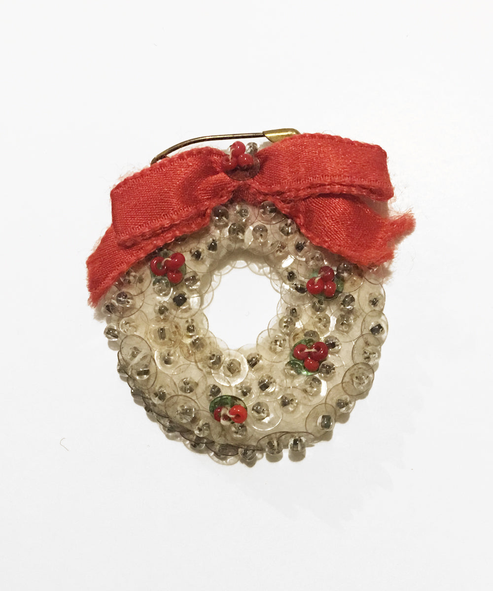 Vintage Delicate Handmade Christmas Wreath Sequin & Beaded Pin