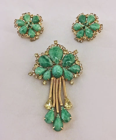 Vintage Hobe Green Teardrop Peking Glass & Rhinestone Brooch & Earring Set