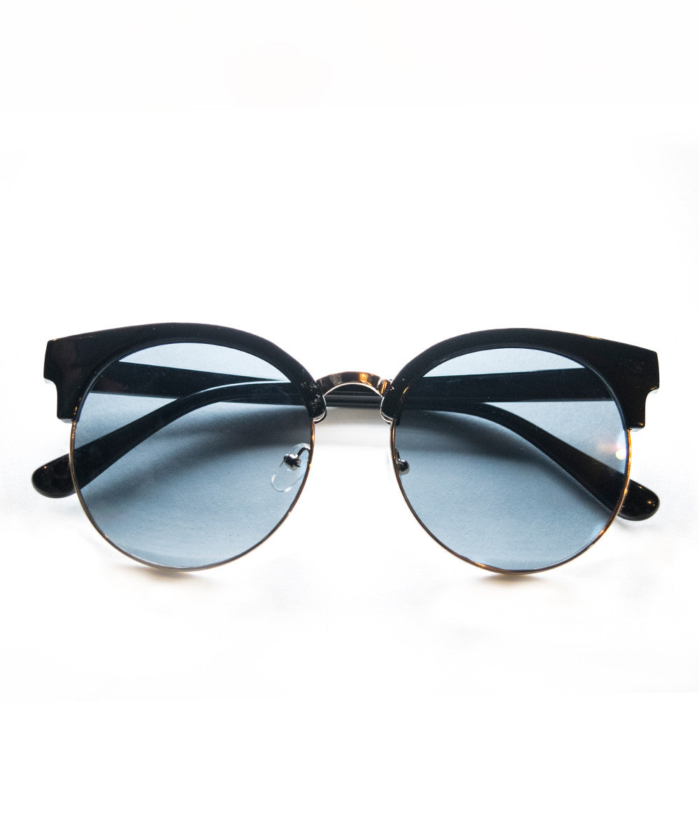 Vintage Inspired Black & Gold Lined Wayfarers