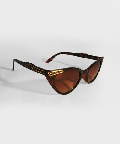 Tortoise Gold & Rhinestone Classic Vintage Cat Eye Sunglasses