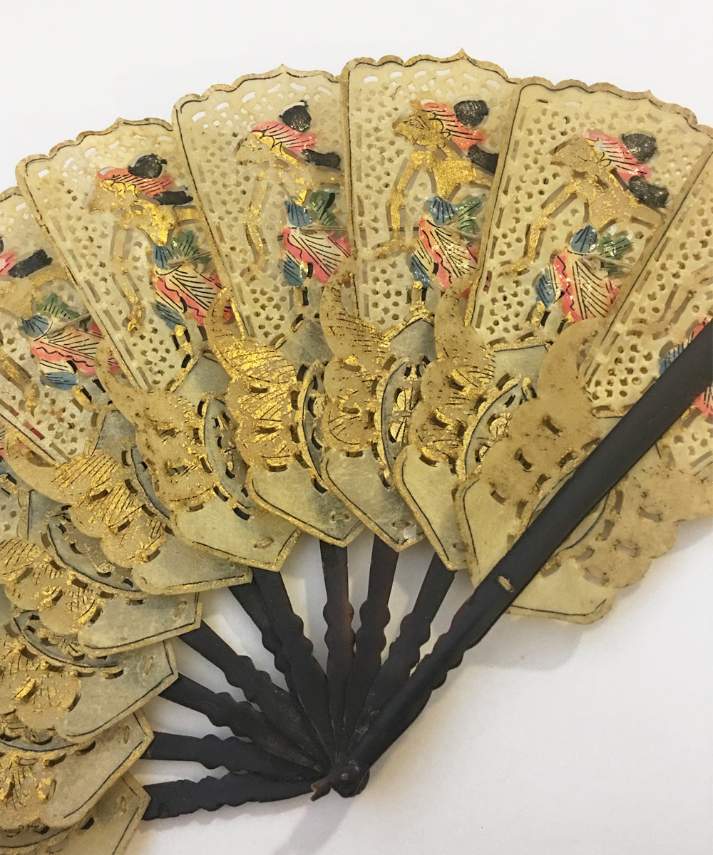 Vintage Indonesian Ivory Shell Handmade Fan