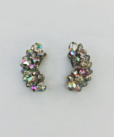 Vintage Laguna Grey Aurora Borealis Clip On Crystal Earrings