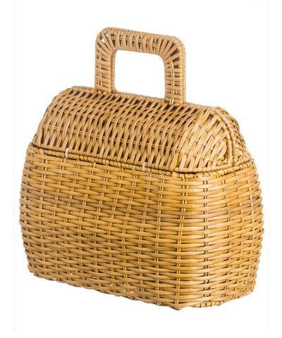 Retro Inspired Woven Straw Picnic Style Handbag
