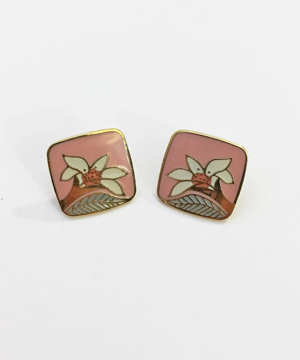"Vintage 1980s Laurel Burch ""Wild Lily"" Post Earrings"