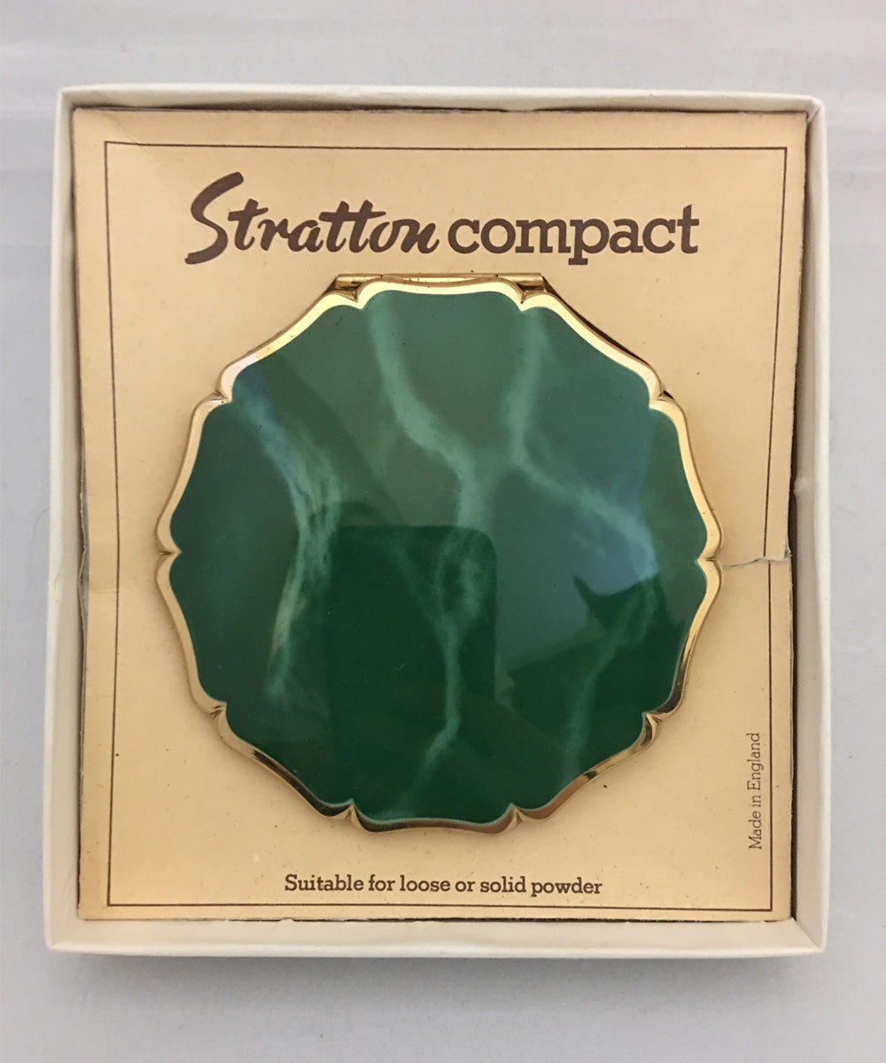 Vintage 1950s Stratton Green & Gold Powder Compact