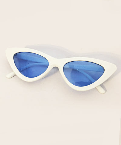 1950s White & Blue Lens Party Retro Cat Eye Sunnies