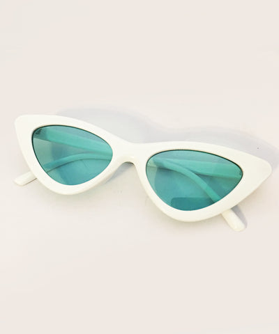 1950s White & Green Lens Party Retro Cat Eye Sunnies