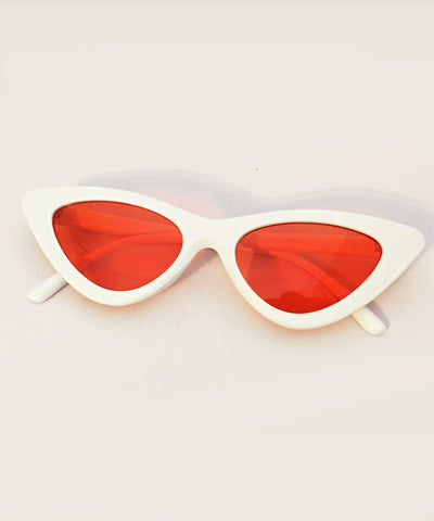 1950s White & Red Orange Lens Party Retro Cat Eye Sunnies